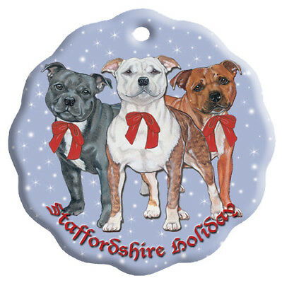 Staffordshire Bull Terrier Holiday Porcelain Christmas Tree Ornament