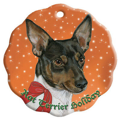 Rat Terrier Holiday Porcelain Christmas Tree Ornament