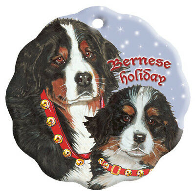 Bernese Mountain Dog Holiday Porcelain Christmas Tree Ornament