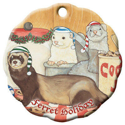 Ferret Holiday Porcelain Christmas Tree Ornament