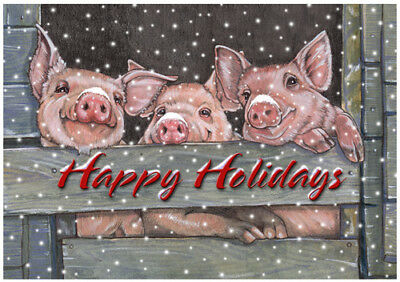 Pig Christmas Cards Set of 10 cards & 10 envelopes