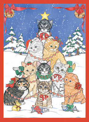Cat - Mas Tree Christmas Cards Set of 10 cards & 10 envelopes
