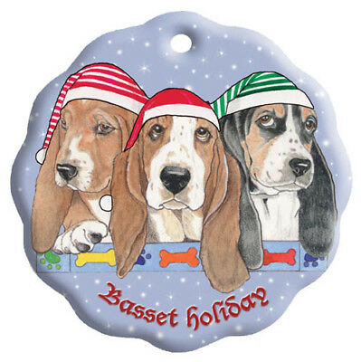 Basset Hound Holiday Porcelain Christmas Tree Ornament