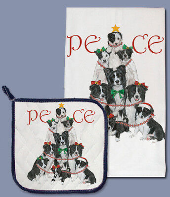 Border Collie Holiday Dish Towel & Pot Holder Set
