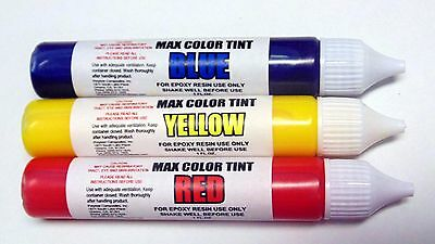 Transparent Color Tint Kit Red Yellow Blue 4 Epoxy Resin 1.oz Ez Dispense Tubes*