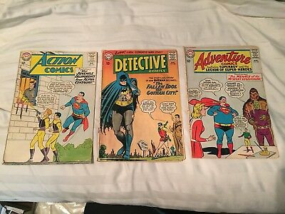Lot Of 3 Dc Silver Age- Detective Comics 330 Action Comics 315 Adventure Comics