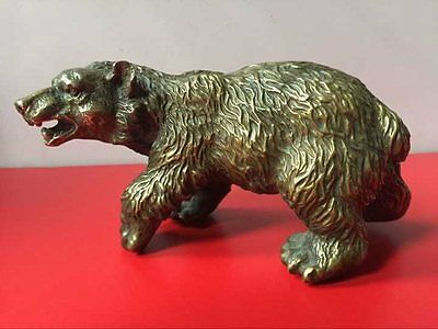 Rare Chinese Old Brass Collection Handmade Carved black bear Statue bronze