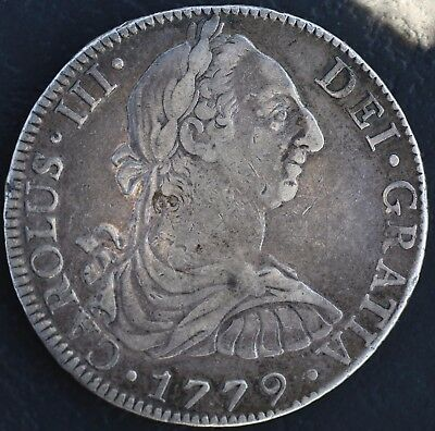 Rare! Buy A Piece Of History!1779 FM Silver 8 Reales Spanish Monarchy Carolus 3