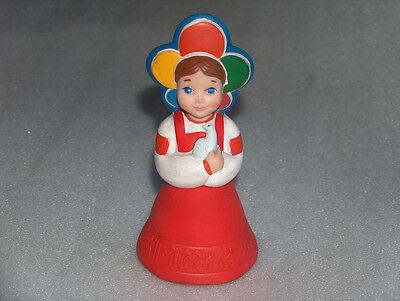 Vintage Rubber Doll - Girl With Dove, Xii World Youth Festival-Moscow, Ussr,1985