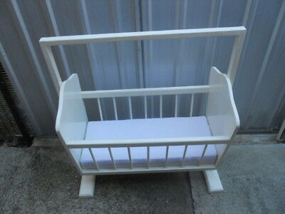 Solid White Painted Doll Cot