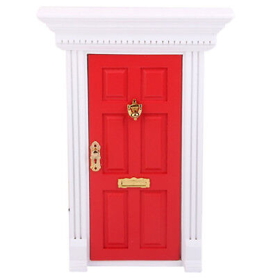 1/12 Dollhouse Miniature Luxury Wooden Red Exterior Door 6 Panel W Key H3A3