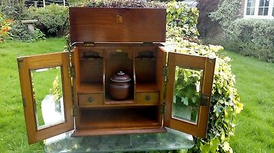 Vintage Antique Oak Smokers Pipe Cabinet Double Glass Doors Original Lock Key