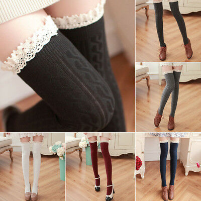 Ladies Girls Over the Knee Lace Cotton Thigh High Stretch Socks Long Stocking