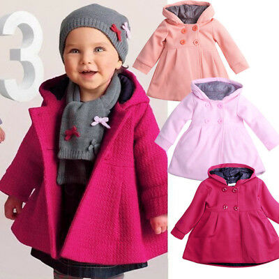 Purple Kids Baby Girls Winter Warm Trench Coat Hooded Outerwear Jacket Clothes