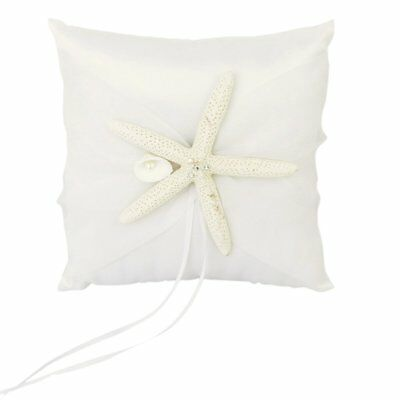 Wedding Ring Pillow Cushion Bearer Starfish Decorated 20 x 20cm---Ivory PK