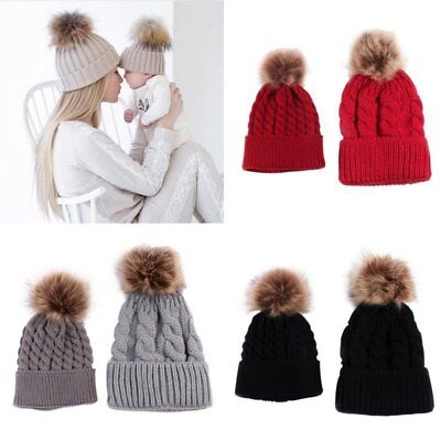 2PCS Winter Warm Mom&Newborn Baby Boy Girl Hats Crochet Knit Hairball Beanie Cap