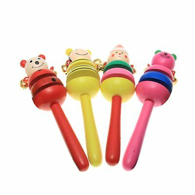 4 x Wooden Rattle Bell Animal Pattern Painting Toy for Baby Child PK