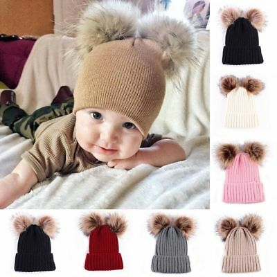 Newborn Kids Baby Boy Girl Pom Hat Winter Warm Crochet Knit Bobble Beanie Cap UK