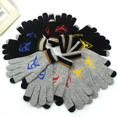 Hot Pokemon Go Men Women Knitted Knitted Mystic Team Touch Screen Warm Gloves