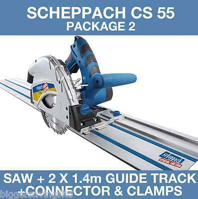 Scheppach CS 55 Plunge Saw & 2x 1.4m Guide Track and Connector, 240v