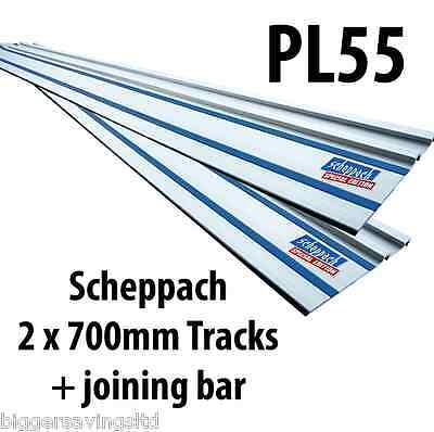 2 x 700mm SCHEPPACH PL55 PLUNGE SAW GUIDE RAIL, GUIDE TRACK + JOINING BAR