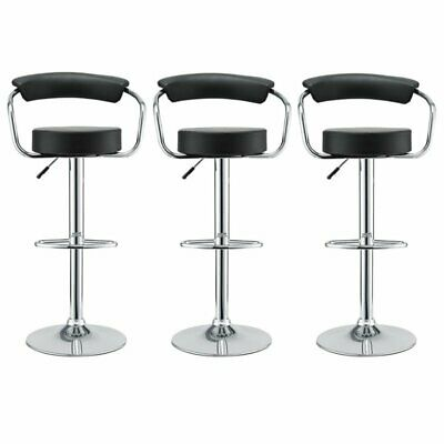 Modway Diner Adjustable Leather Swivel Bar Stool in Black (Set of 3)