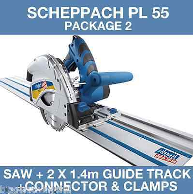 Scheppach PL 55 Plunge Saw & 2x 1.4m Guide Track and Connector, 240v