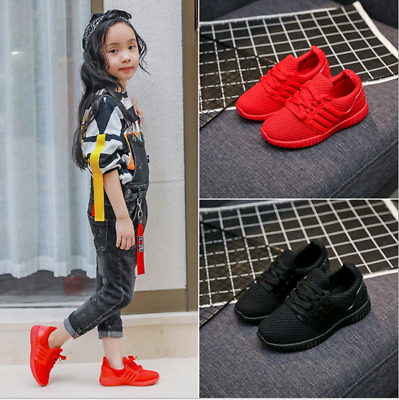 Boys Girls  Trainers Sports Runner Lace Up Shoes red, black and blue Size 25-36