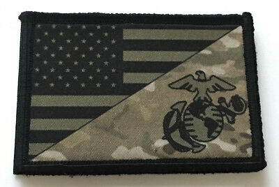 Multicam Marines Subdued USA FLAG Morale Patch Tactical Military Hook Badge