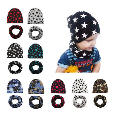 Baby Toddler Cotton Star Hat+Scarf Set Soft Children Hats for Autumn and Winter