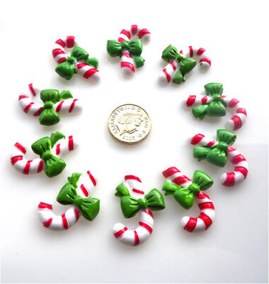 10 Christmas Candy Cane Red White Stripe Flatback Cabochons Resin - Free P&p