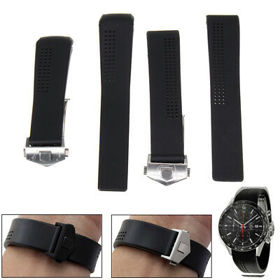 20/22mm Rubber Bracelet Montre Band Strap For 41mm Tag Heuer Carrera CV2014