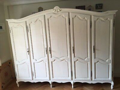 French Vintage Five Door Wardrobe Armoire 5 Painted Cream White Rustic Louis XV