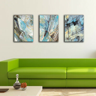 Framed Canvas Prints Stretched Set Of 3 Abstract Blue Wall Art Home Decor Gift