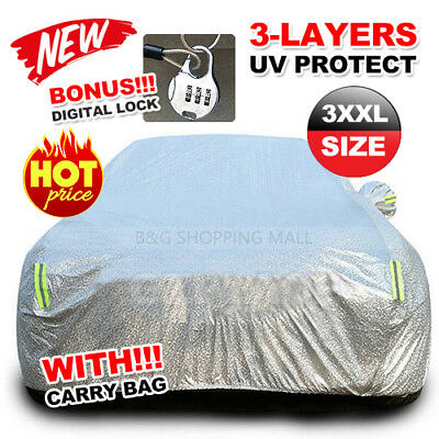 3XXL Large Waterproof Aluminum Outdoor Car Cover Double Thick Rain UV Resistant