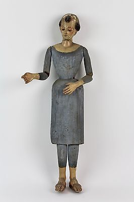 * Saint In Polychromated Woodcarving. Xix Century.