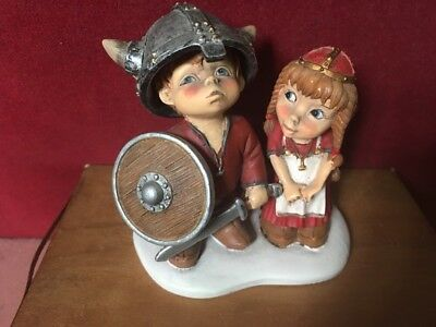 Candy Design Norway Figural Group Of A Young Viking Boy And A Girl