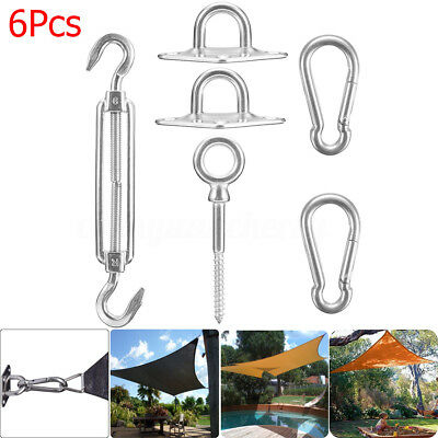 6Pcs 304 Sun Shade Sail Garden Patio Awning Canopy Sunscreen Fixing Fittings Kit