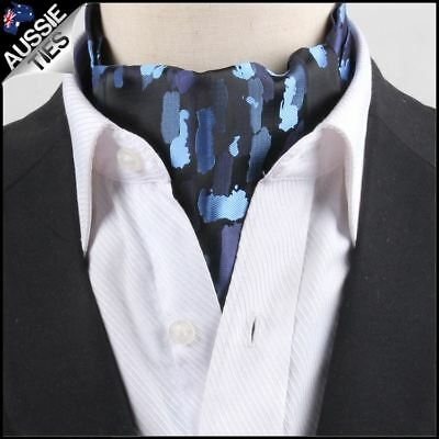 Men's Black with Blue Paint Ascot Cravat