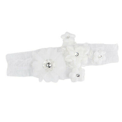 Elastic mesh bridal Garter for Wedding - White G6W3