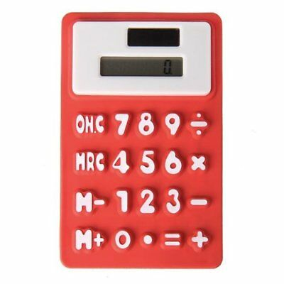 Pocket solar Office silicone Red 8 digit calculator PK
