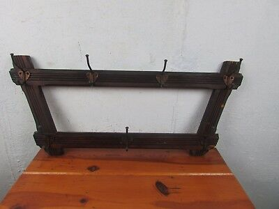 Coat Rack Vintage BRASS Hooks Wall Mount Hanging Antique Wood and Metal Great!!