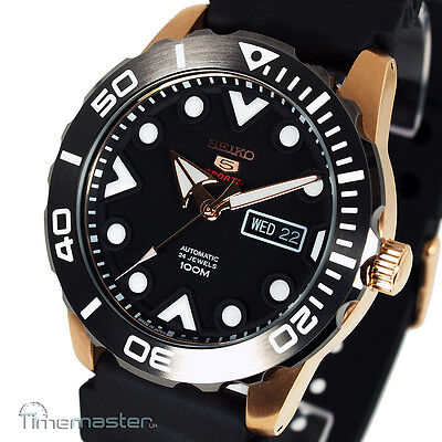 6258efee9 NEW SEIKO 5 SPORTS AUTOMATIC BLACK FACE DIVERS STYLE SRPA12J1 - EUR ...