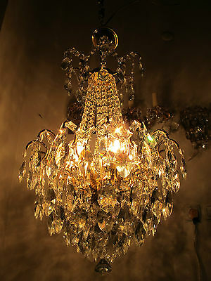 Antique Vnt French Big Spider Style Czech Crystal Chandelier 1940s 18in dmtr**--