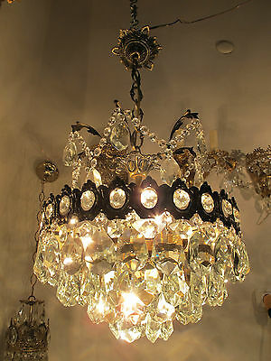 Antique Vnt French Basket Style Crystal Chandelier Ceiling Light 1940s 14in dmtr