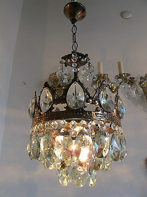 "Antique French Pretty  Crystal Chandelier Lamp Light 1940s 10""dmtr"