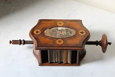 Scarce Early 19Th Century Marquetry Playing Card Press & Cards