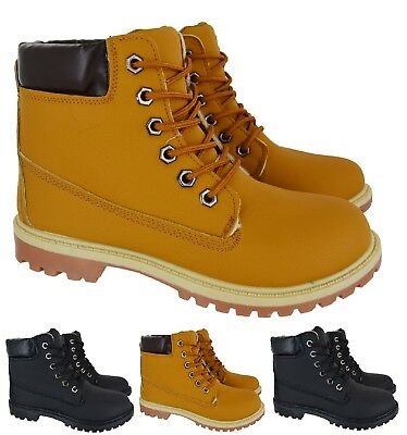 New Ladies Womens Fur Lined Winter Rubber Grip Sole Combat Ankle Boots Shoes Sz