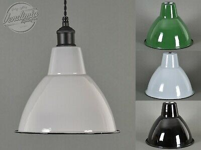 Small Domed Vintage Industrial Factory Enamel Shade Lampshade Steel Pendant