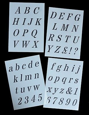 Italic Alphabet Letter Stencil / letters on 4 x A4 Sheets 40mm CAP HEIGHT Alpha8
